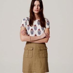 LOFT Vintage Soft Floral Print Short Sleeve Shirt